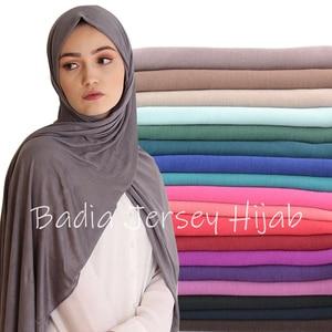 Image 1 - Einem stück hijab frauen viskose jersey schal muslim islamischen solide plain jersey hijabs maxi schals weiche schals 70x160 cm