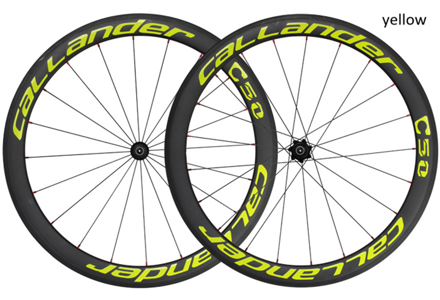 CALLANDER C50 high quality carbon fiber T700 700C*50mm 11speed FOSS 4 bearings hub clincher wheels road racing bike carbon wheel