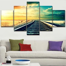 One Set  5 Pcs Modular Picture Modern Top-Rated Canvas Print Landscape Sky Railroad Poster Wall Art Home Decor Living Room Frame 5 piece blue sky nature rocks road landscape picture top rated canvas print type wall decor valley of fire state park poster