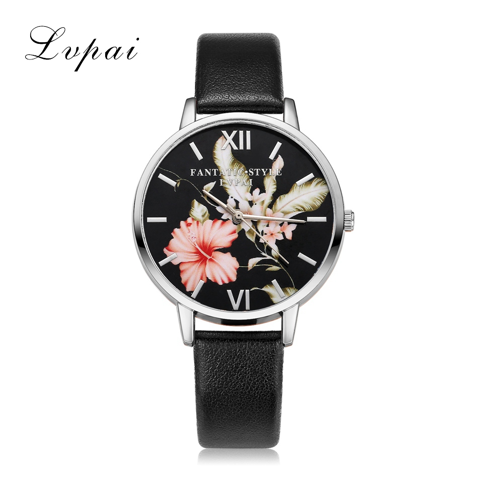 Lvpai Brand Fashion Casual Flower Sølv Kvinder Luksus Business Læder Quartz Armbåndsure Ladies Dress Clock Armbåndsur