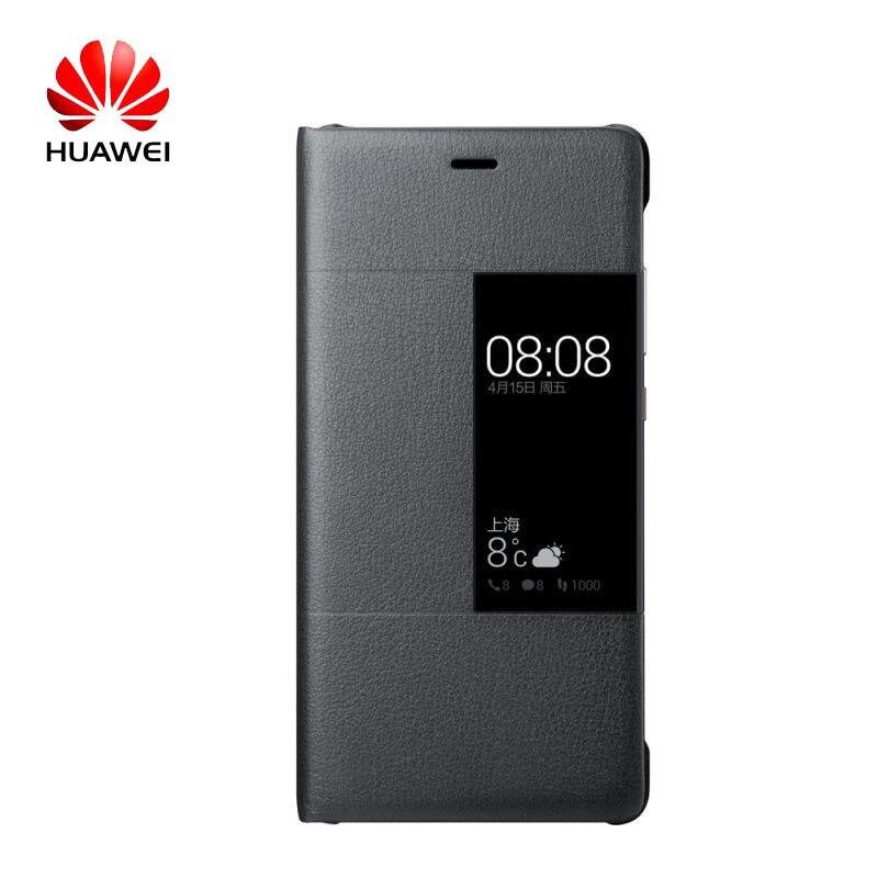 imágenes para 100% Original Huawei Caso Elegante de la Cubierta de Ventana de Visualización de Cuero para Huawei p9 p9 hoesjes sostenedor Universal del teléfono de Protección Completa