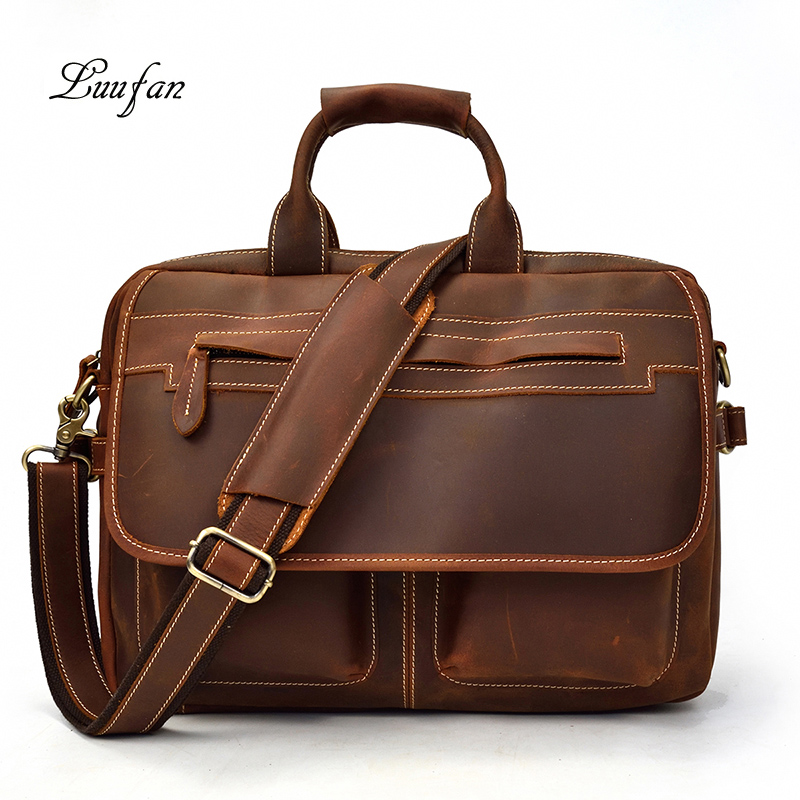 Thick Crazy Horse Leather Man bag Vintage 15 Business Laptop Briefcase Real cow Leather Man Work tote Messenger Shoulder BagThick Crazy Horse Leather Man bag Vintage 15 Business Laptop Briefcase Real cow Leather Man Work tote Messenger Shoulder Bag