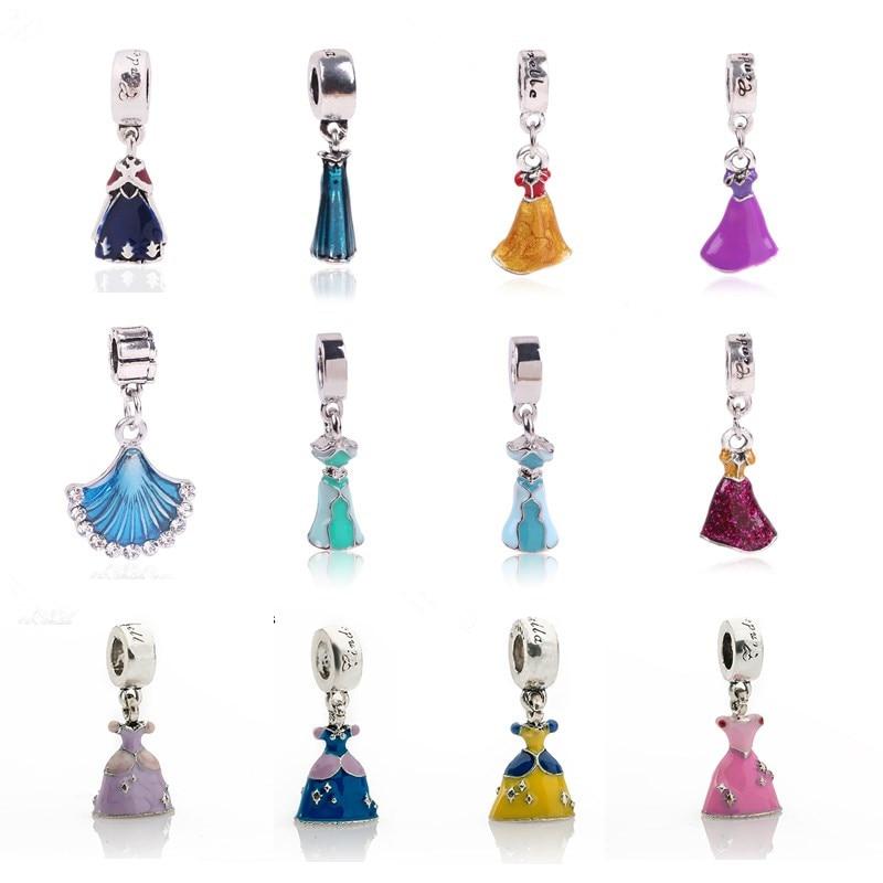 Pandora Bracelet Charms Cheap: High Quality 1PC European Style Enamel Skirt Bead Charms