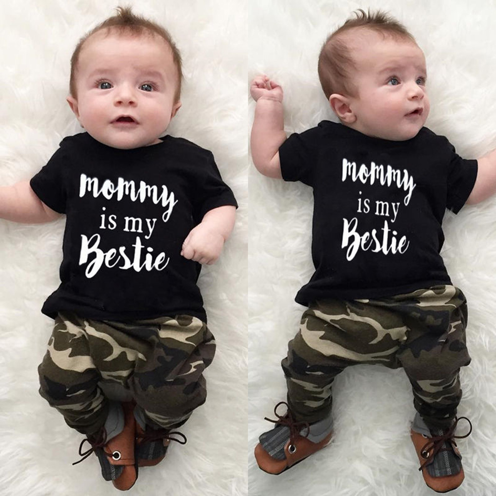 Newborn Infant Toddler Baby Boys Girls Clothes Short Sleeve Letter Print Tops T-Shirt Camouflage Long Pants 2pcs Set Outfits