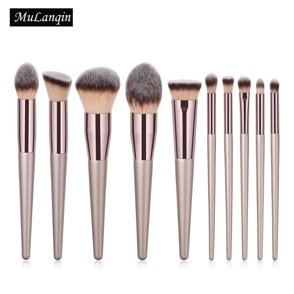 10 PCS Makeup Brushes Professional Foundation Powder Cosmetic Make Up Brush Set Synthetic Hair Eyeshadow Eyebrow Brush PU Bag brushes natural 1pcs eyebrow foundation eyeshadow brush set 7 makeup case brushes soft wooden makeup holder cosmetic makeup hair