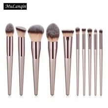 10 PCS Makeup Brushes Professional Foundation Powder Cosmetic Make Up Brush Set Synthetic Hair Eyeshadow Eyebrow Brush PU Bag