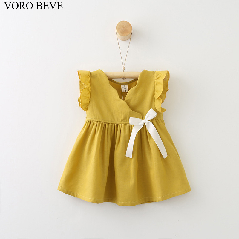 VORO BEVE 2017 new summer kids clothes Girls dress Cotton and linen Ribbon chiffons girl Dresses