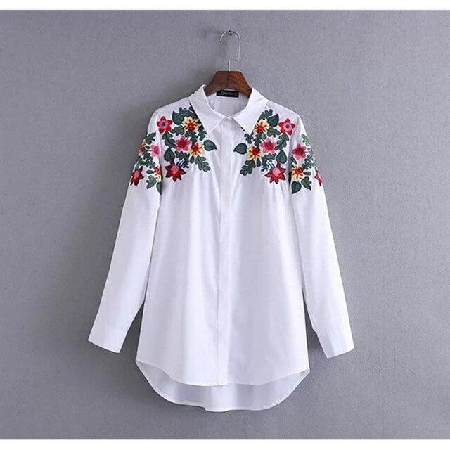 vintage couleur fleur broderie chemise nouvelle femme revers manches longues chemisier blanc. Black Bedroom Furniture Sets. Home Design Ideas