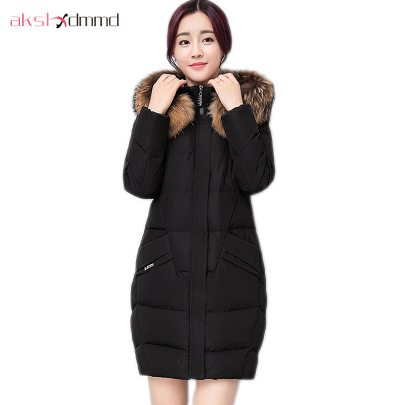 AKSLXDMMD Fur Collar Hooded Padded Coat 2017 New Winter Women Thick Long-sleeve Mid-long Jacket Plus Size Female Mujer LH988 akslxdmmd women winter jacket 2017 new female jacekt fashion hooded printed letters thick padded woman coat parkas mujer lh1066