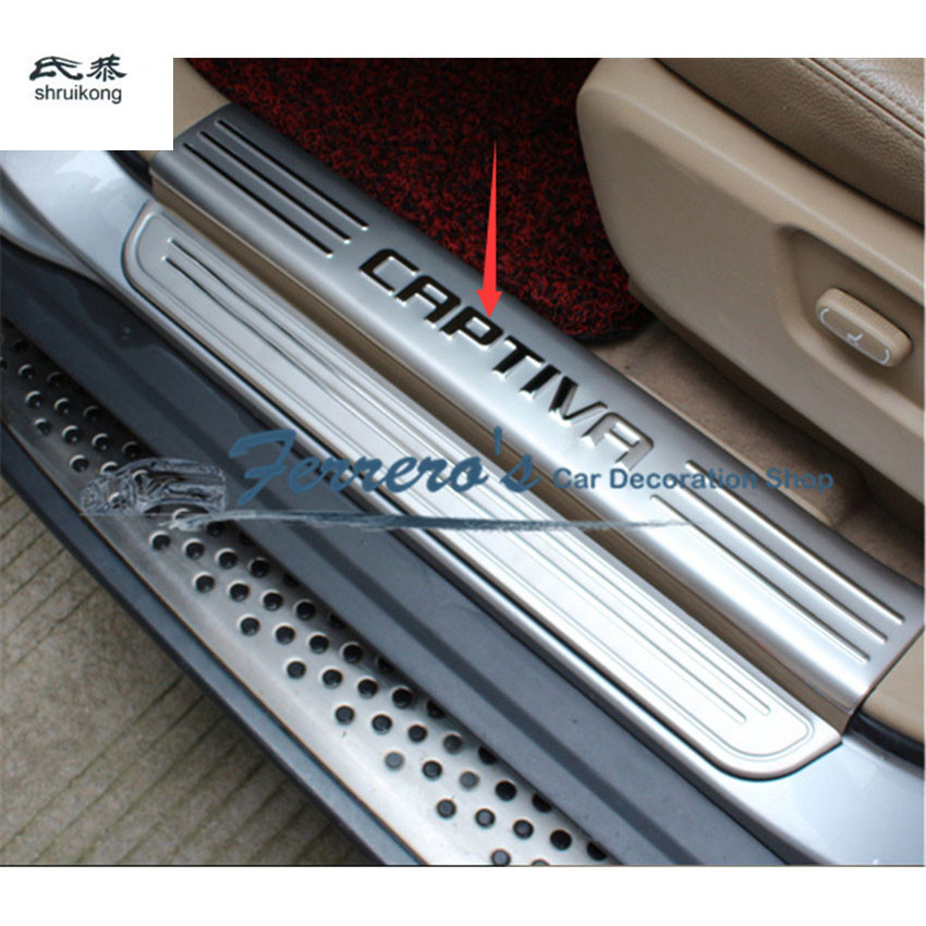 Free shipping for Chevrolet Captiva 2013 2016 stainless steel scuff plate inside door sill 4pcs set