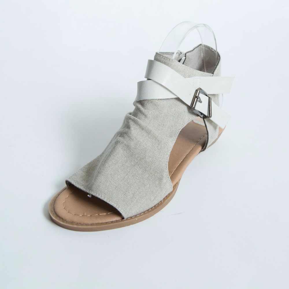 AGUTZM 2019 bayan yaz sandalet kanvas Peep Toe ayakkabı açık Toe dantel-up Flats plaj rahat çevirme