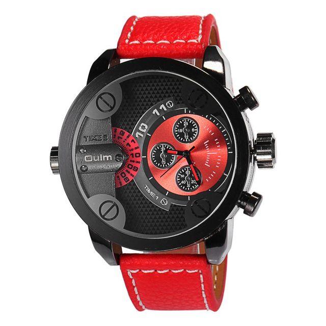 Oulm de Primeras Marcas de Lujo Relojes de Los Hombres Correa de Cuero Dial Grande Reloj de Hombres Reloj de Cuarzo Militar Reloj de Pulsera Relogio masculino
