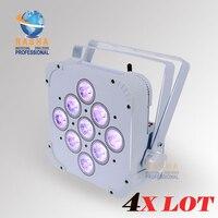 4XLOT High Quality Rasha HexV9 9*18W 6in1 RGABW+UV Built in Wireless LED Flat Par Light,LED Flat Par Can,Disco Event Stage Light