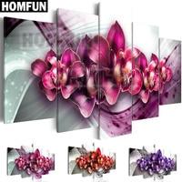HOMFUN 5pcs Full Square/Round Drill 5D DIY Diamond Painting