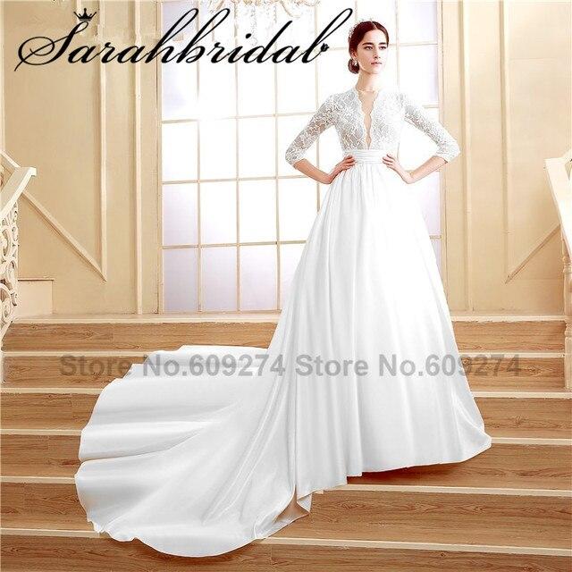 BATA de mariage Champagne Lace vestidos De novia con mangas 2016 Sexy cuello  pico largo vestidos 741535f674bd