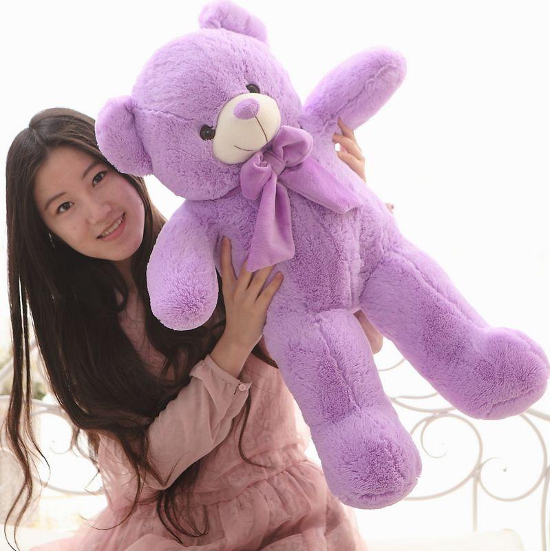 The lovely lavender teddy bear doll plush purple teddy bear toy birthday gift about 80cm the lovely lying teddy bear doll blue stripe cloth plush bear toy gift toy about 80cm