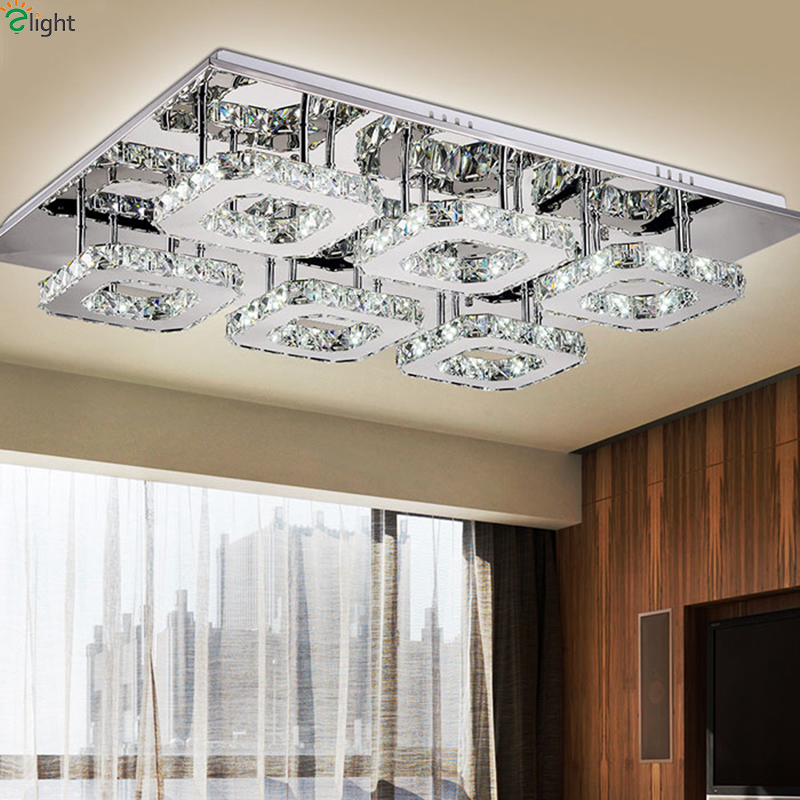 Postmodern Mirror Steel Led Chandeliers Lighting Lustre Crystal Living Room Dimmable Led Ceiling Chandelier Lights Fixtures