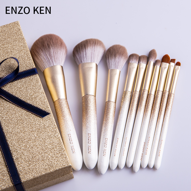 ENZO KEN 10 Pcs Makeup Brushes Set for Highlighting and Contouring Suitable for Eye and Face Makeup 1