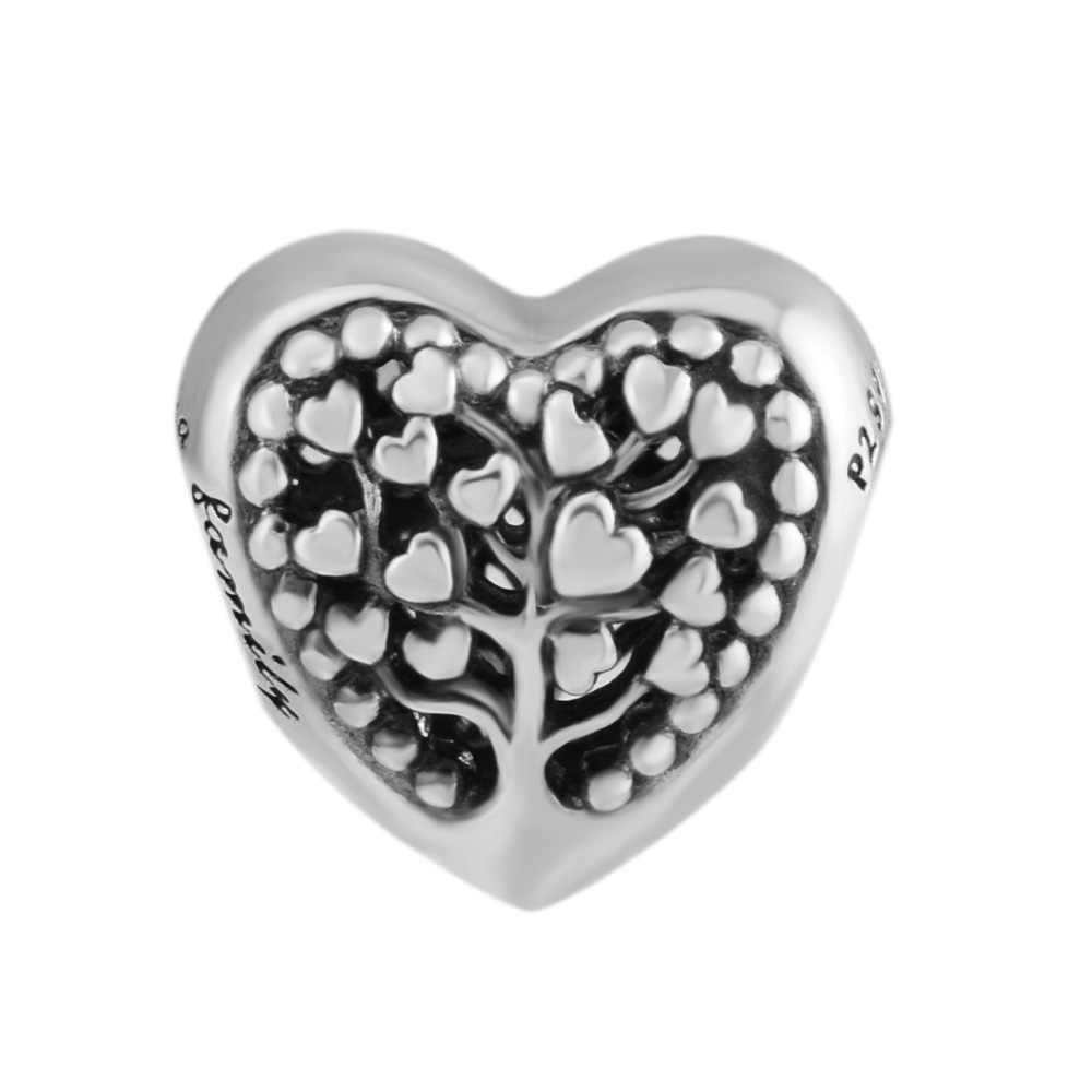 Fits Charms Bracelet 100% Genuine 925 Sterling Silver Flourishing Hearts Charm DIY Beads Women Silver Jewelry kralen pulsera