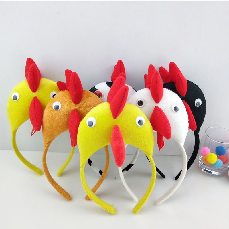 Children 3D Chicken Chick Headband Animal  Cosplay Headwear Birthday Party Gift Halloween Costume For Kids Adult Carnival