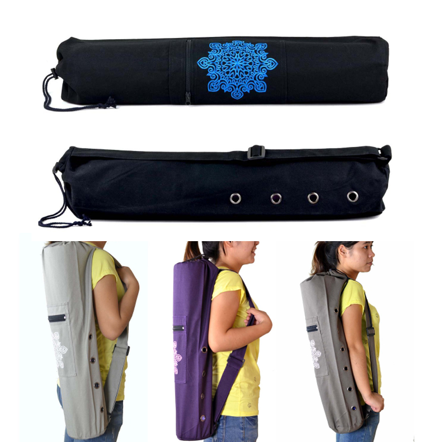 68 x 15cm Canvas Practical Yoga Pilates Mat Carry Strap Drawstring Bag Sport Exercise Gym Fitness Backpack for 6mm Yoga Mat canvas elephant yoga mat bag large capacity gym bag sports handbag fitness dance gymnastics pilates athletes exercise mat bags