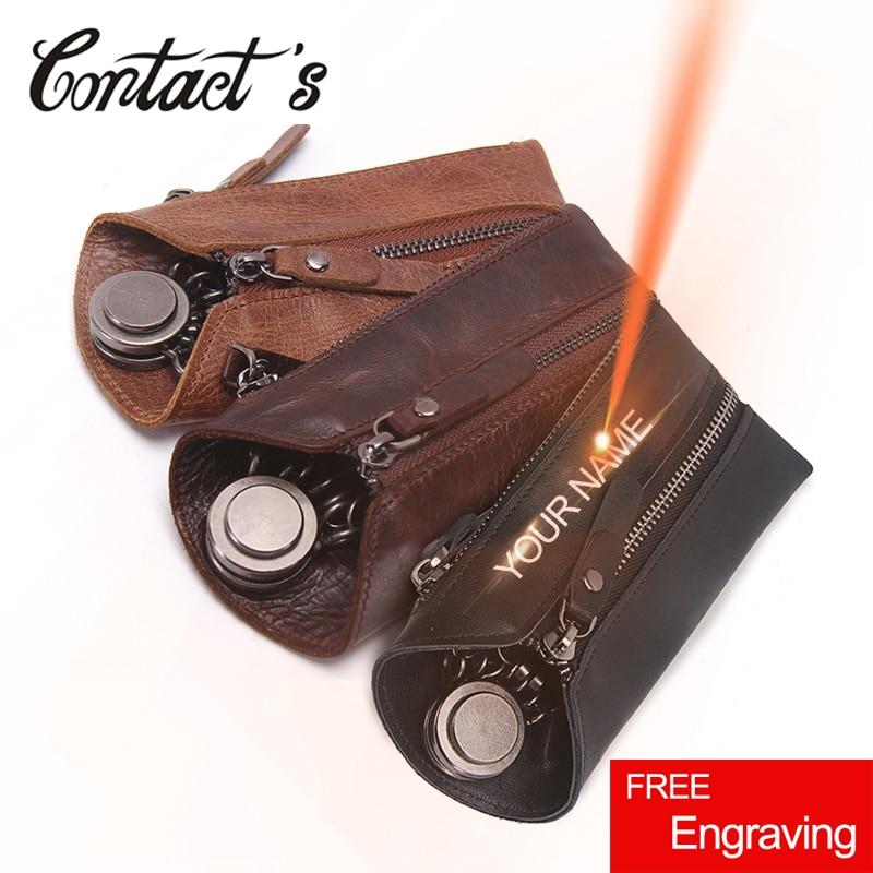 Vintage Genuine Leather Men Key Wallet For Car Keychain Covers Zipper Key Case Bag Male Key Holder Housekeeper Keys Organizer