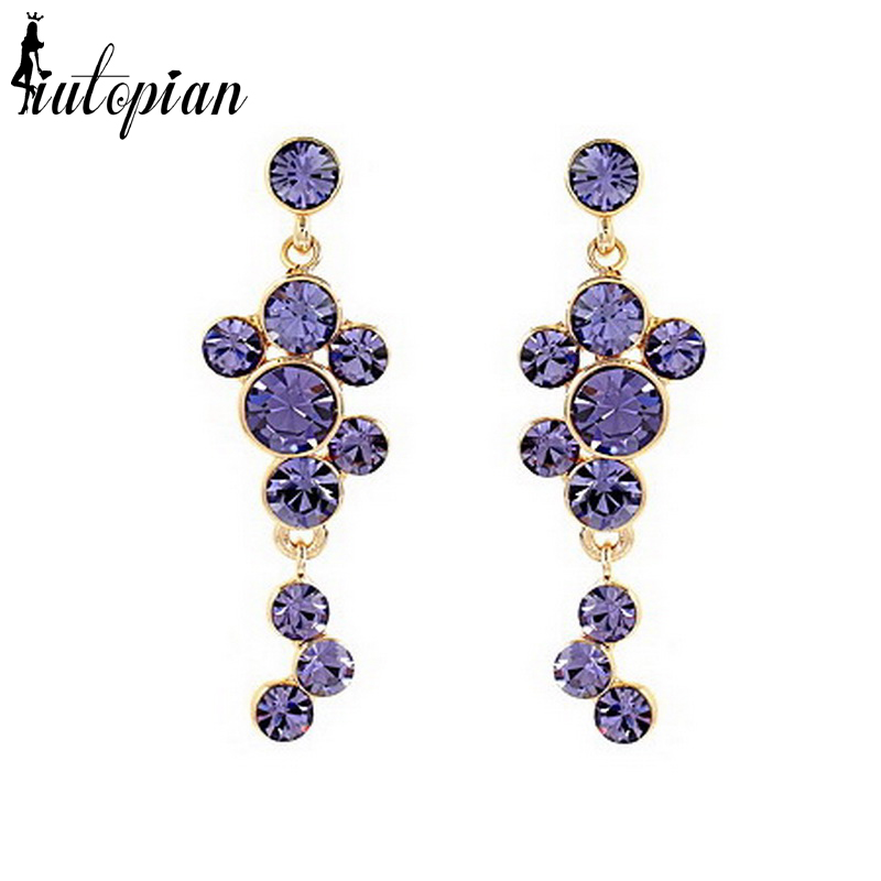 Iutopian Fashion Jewelery Elegant Flower Dangle Drop Earrings for Women with Top Quality Stellux Crystal Anti-Allergy