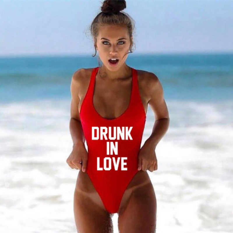 DRUNK IN LOVE Letter Print 1 One Piece Swimsuit Women Red Swimwear Monokini Sexy Bodysuit Bathing Suit Wedding bathing suit 2018