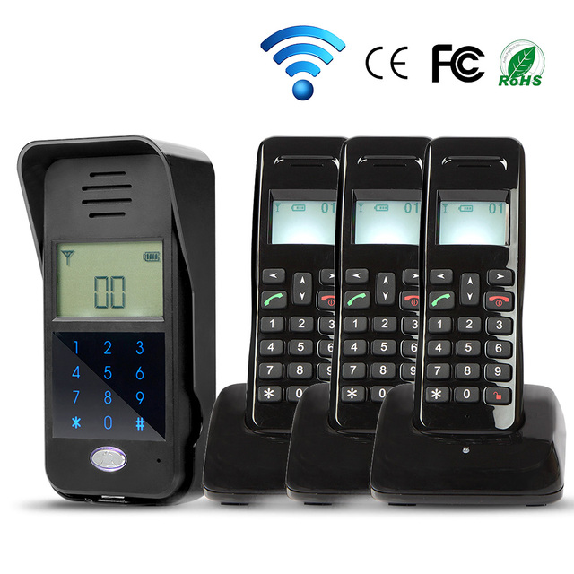 Brand New 2.4G 3 Handset Indoor Unit Wireless Audio Door Intercom Doorbell System Code Keypad Unlock Outdoor Unit Free Shipping