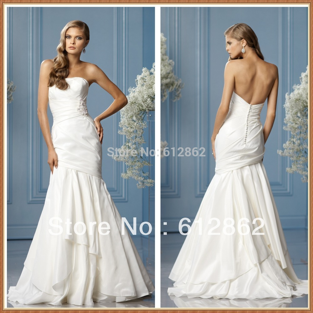 Strapless Taffeta Mermaid Low Back Sweep Train White Wedding Dress ...