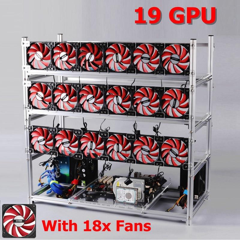 19 GPU серебристый/черный горной Рамки с 18 х светодиодный Вентиляторы Алюминий стекируемые добыча Рамки для Эфириума BTC ...