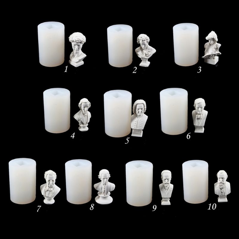 Artists Figure David Beethoven Head Plaster Silicone Mold Resin Casting Mold DIY Tools