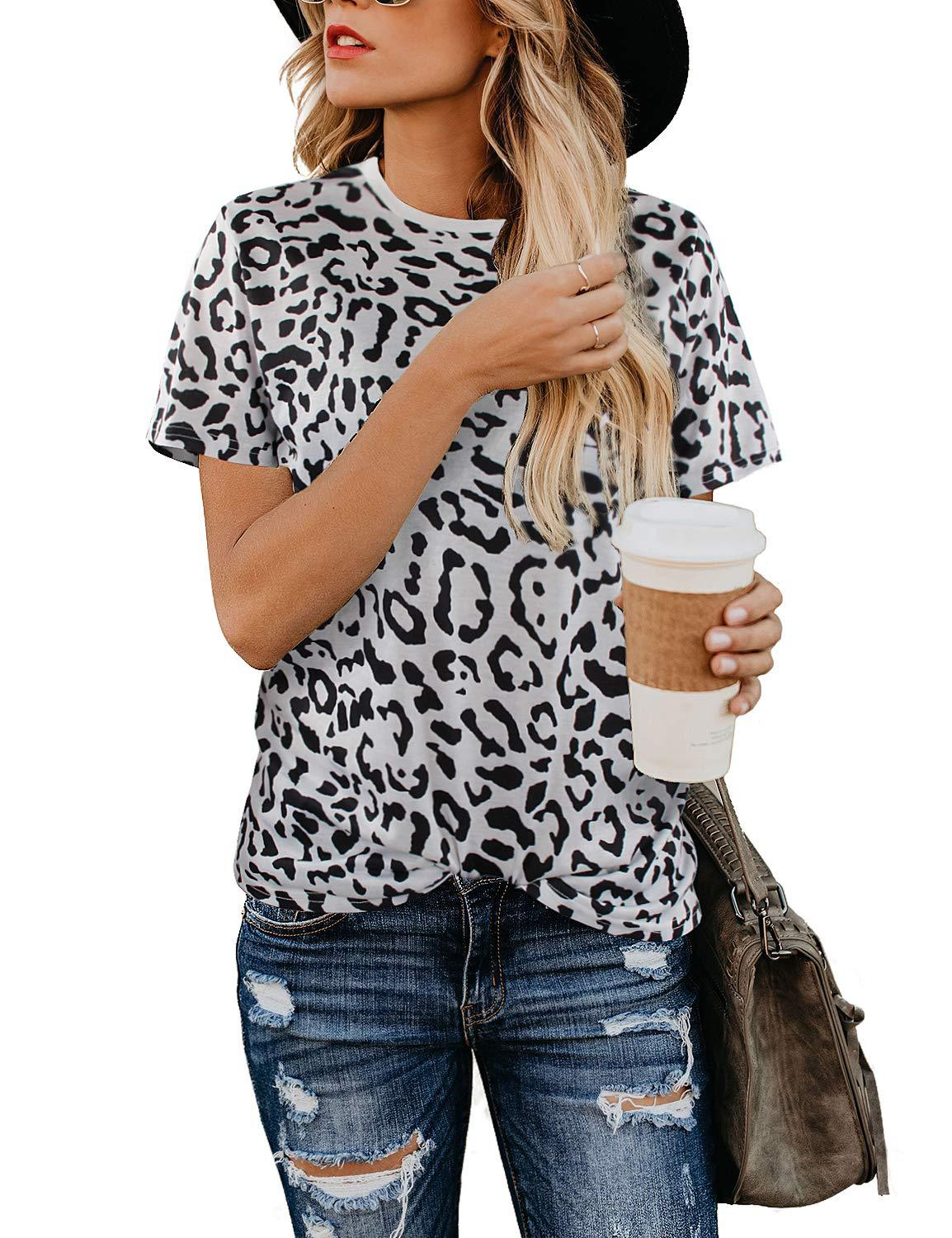 T shirt female short sleeved Summer new women 39 s short sleeved leopard women 39 s Tshirt top Casual Streetwear in T Shirts from Women 39 s Clothing