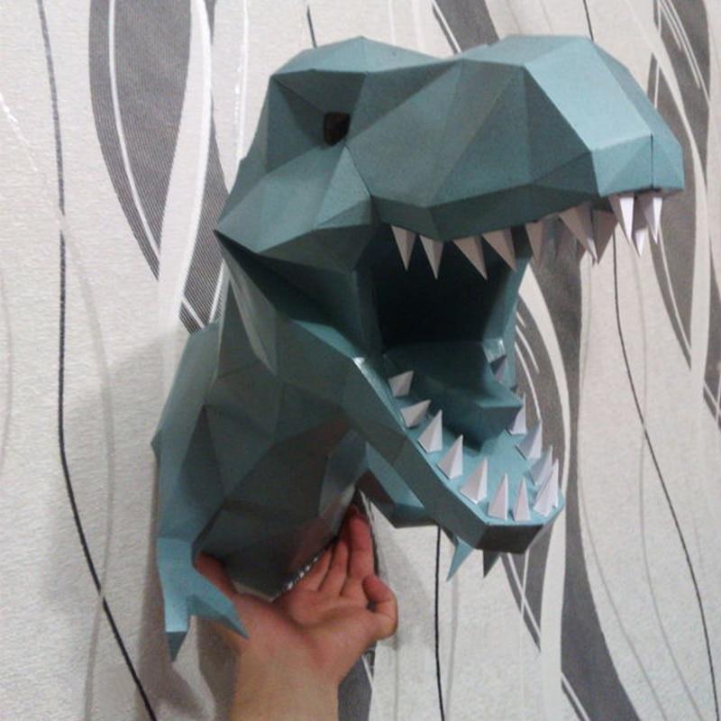 DIY Home Decoration Tyrannosaur Dinosaur Head Paper Model Puzzles Toy Animal For Restaurants Bar Waterproof Educational Model