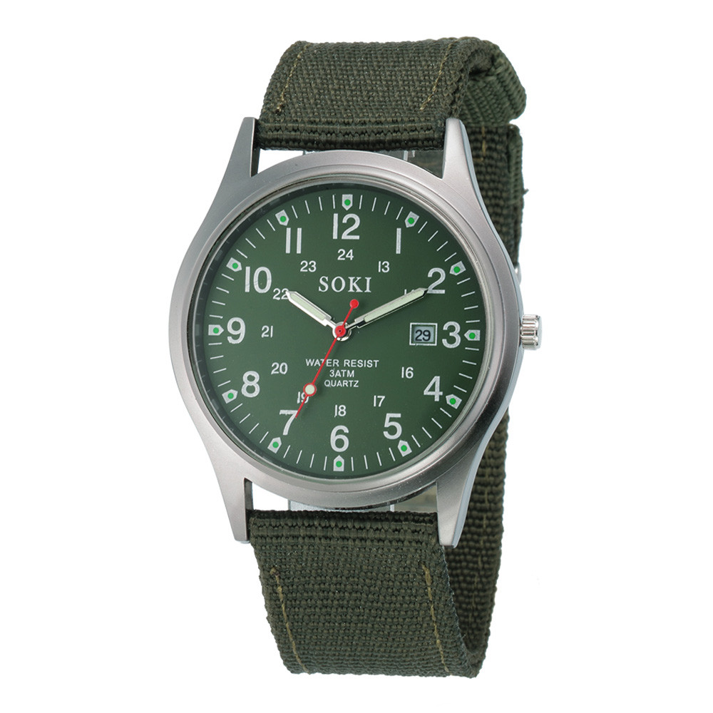 Military Army Men's Date Canvas Band Stainless Steel Sport Quartz Wrist Watch Relogio Masculino Dropship F513