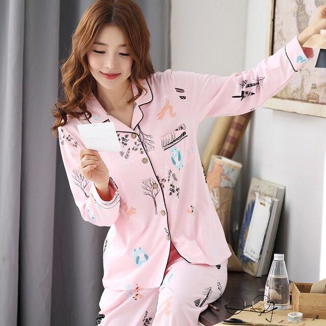 Pyjamas femmes 2018 nouveau printemps coton Pijamas ensemble mignon rose vêtements de nuit de dessin animé Pyjamas pour femmes Pijama Feminino Pyjama 2 pièces/ensemble