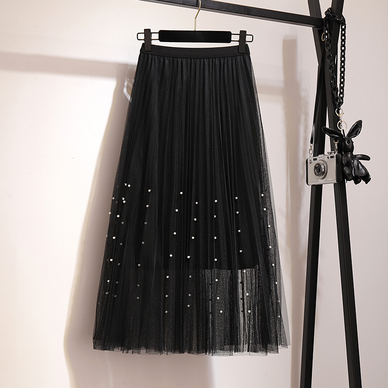 New 2019 Spring Summer Skirts Womens Beading Mesh Tulle Skirt Women Elastic High Waist A Line Mid Calf Midi Long Pleated Skirt 29