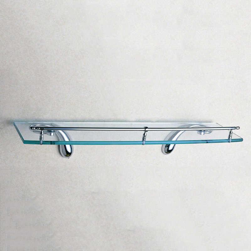 один стекло полки настенные латунь прямоугольник плавающие шампунь держатель для душа высокого класса Chrome аксессуары для ванной комнаты 50 см