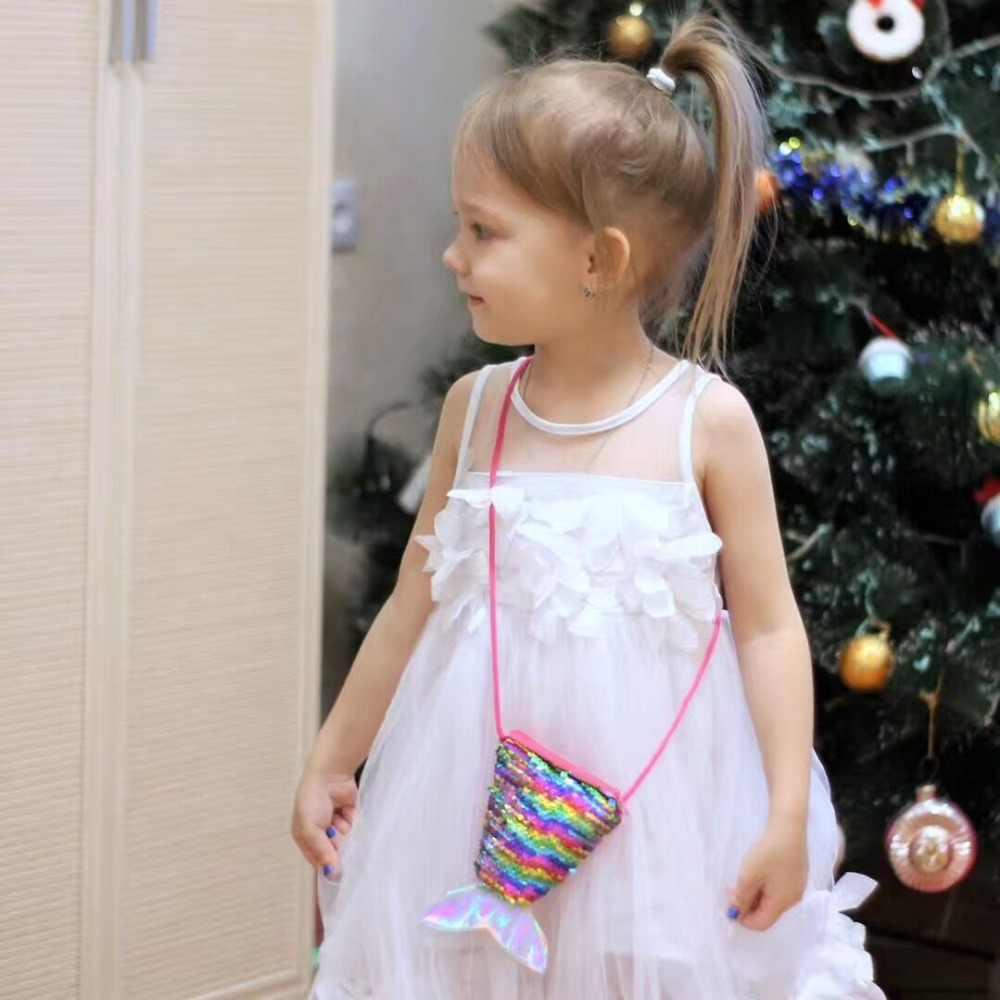 Lantejoulas Sereia Cauda Meninas Do Bebê Crianças Mini Saco Do Mensageiro Saco de Ombro Saco de Moeda Dos Desenhos Animados Dos Meninos Pequeno Coin Purse Crianças Bolsas