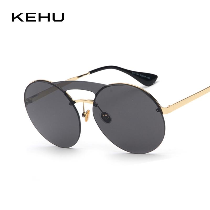 KEHU New Fashion Pilot Sunglasses Women Alloy Frame Glasses Double Beam Glasses Brand Designer Round Sunglasses UV400 K9388