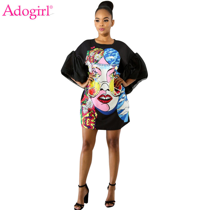 Adogirl Floral Cartoon Character Print Flare Sleeve Mini Dress Big Size Black Loose Casual Women Summer Dresses Lady Streetwear
