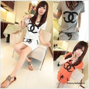 coco channel vestidos japan and south korea casual sporty drawstring regulator dress girl party dresses