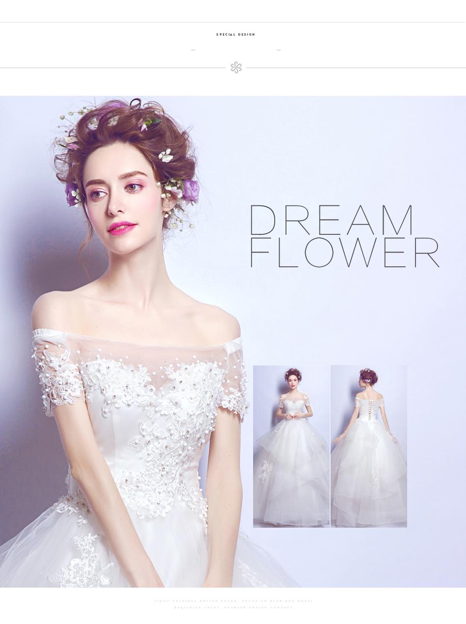 Angel Wedding Dress Marriage Bride Bridal Gown Vestido De Noiva 2017 Boat Neck Nail, lace, 2129 5