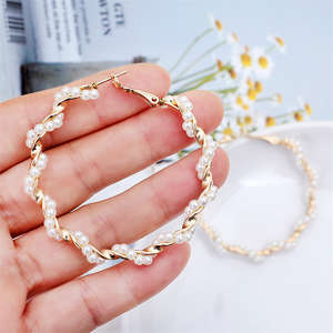 Pearl Earrings Jewerly Circle Round Korean Personality Women New-Fashion Simple Metal