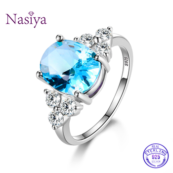 Women's Jewelry 925 Sterling Silver Rings White Pink Light Blue Champagne Zircon Oval Wedding Ring 4