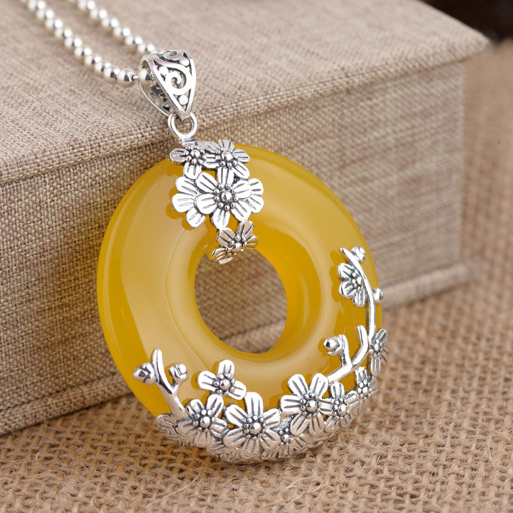 FNJ 925 Silver Flower Pendant Round Yellow Chalcedony 100% Pure S925 Solid Thai Silver Pendants for Women Men Jewelry Making