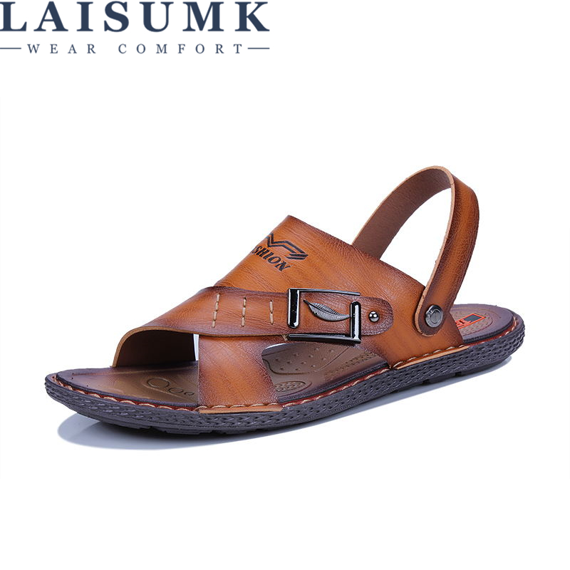 LAISUMK Free Shipping Summer Mens Sandals Slippers Leather Sandals Outdoor Casual Men Leather Sandals For Men Men Beach Shoes
