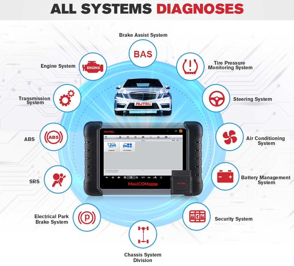 Image 2 - Original Autel Maxicom MK808TS Professional Automotive Diagnostic Tool TPMS Relearn Reset Programming Car Scanner Auto Scan Tool-in Engine Analyzer from Automobiles & Motorcycles on