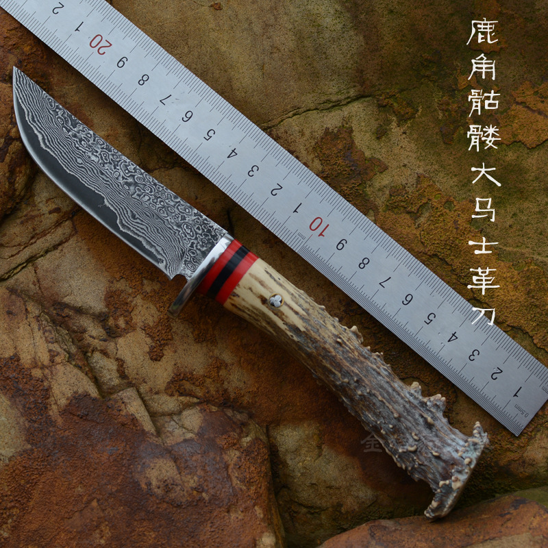 2016 High quality Damascus Steel Hunting font b Knife b font Antler handle Damascus collection font