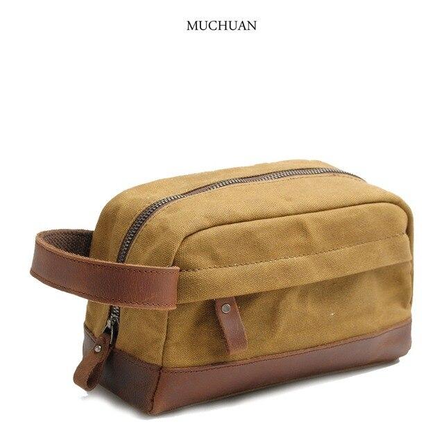 fdfc071ed9cd New men s clutch oil wax canvas wash bag Retro Leather Hand Baotou cowhide  wrist bag clip
